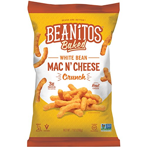 Beanitos Mac n' Cheese White Bean Crunch, Plant Based Protein, Gluten Free, Non-GMO, Corn Free, Real Cheese Baked Snack, 7 Ounce (Pack of 6)