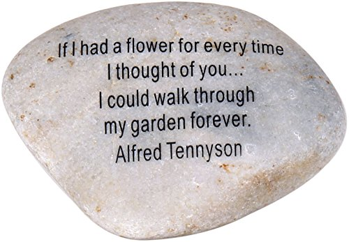 Extra Large Engraved Inspirational, Romantic Love Quote – Natural Engraved Stone (4-4.5 Inches) from The Holy Land – If I had a Flower Alfred Tennyson