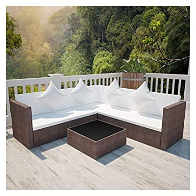 K&A Company Outdoor Furniture Sets, 4 Piece Garden Lounge Set with Cushions Poly Rattan Brown