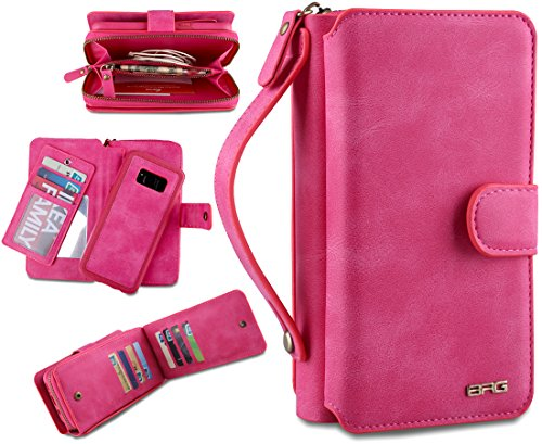 Eloiro Samsung Galaxy S8 Plus Case, Premium Leather Zipper Wallet Carrying Case Detachable Flip Holster Protective Button Clutch Cover with Multiple Card Holder & Hand Strap for Galaxy S8Plus Pink (Accented Clutch Handbag)