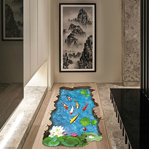 Ayutthaya shop XH-9219 Aquarium fish swimming pool through Ome decals decals, wall murals, royal walls, art posters, bathroom 3D sticker - Monroe Hours Outlet