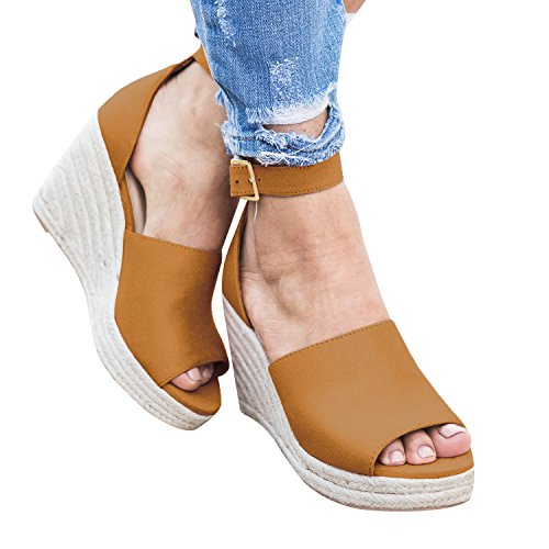 - Syktkmx Womens Platform Wedge Sandals Suede Peep-Toe Strap Buckle Mid Heel Espadrille Shoes