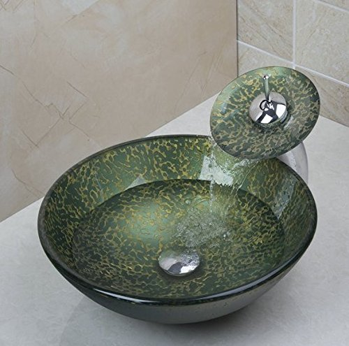 GOWE Waterfall Bathroom Tempered Glass Sinks Hand Painting Victory & Match Brass Faucet Bathroom Sinks Set 1