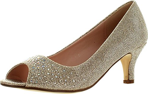 Rhinestone Peep Toe Pump (Bonnibel Wonda-2 Womens Peep Toe Low Heel Glitter Slip On Dress)