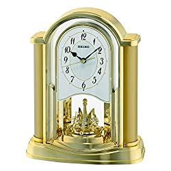 Seiko Rotating Pendulum Clock Gold, Wood, 10x20x25 cm
