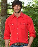 Ryan Michael Men's Cayenne Saw Tooth Silk Linen Shirt Red Medium