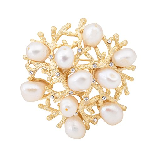 Fenni Elegant Natural Pearls Wreath Brooch 18K Gold Tone Garland Floral Hoop Pin Banquet Wedding Jewelry (Small Flower) ()