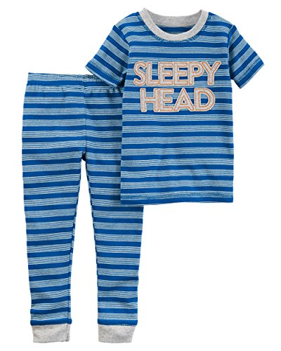 Carter's Baby Boys' Little Planet Organics 2-Piece Cotton Pajamas, Sleepy Head, (Boys Carters 2 Piece)