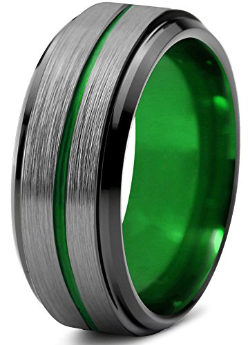 Chroma Color Collection Tungsten Wedding Band Ring 8mm for Men Women Blue Red Green Purple Black Center Line Step Beveled Edge Brushed Polished Size 8 by Chroma Color Collection