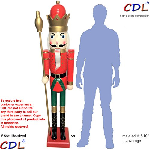 CDL 6ft tall life-size large/giant red Christmas wooden nutcracker king ornament on stand holds golden scepter for indoor outdoor Xmas/event/ceremonies/commercial decoration (6 feet, king red k03)