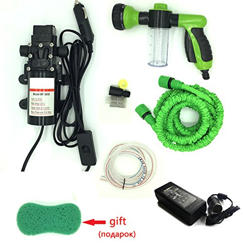 Washing machine cleaning pump high Pressure water Pump connect car 12v with power converter 110v - 220v to 12v (Coral Bells Snow Angel)