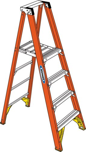Werner P6204 300-Pound Duty Rating Fiberglass Platform Ladder, 4-Foot