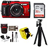 Olympus TG-5 Waterproof Digital Camera (Red) w/ 32GB SD Card & Accessory Bundle