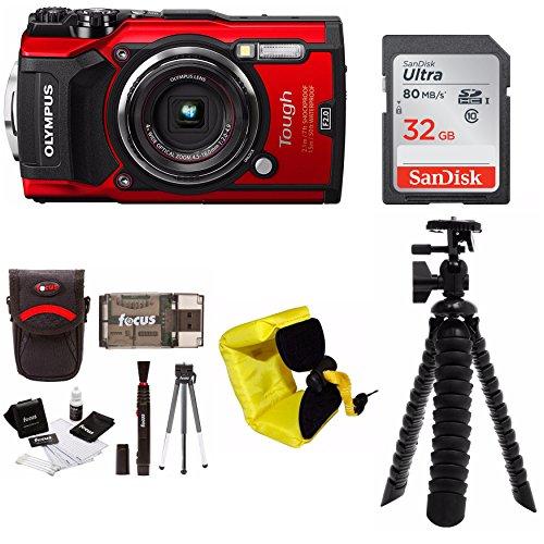 Olympus TG-5 Waterproof Digital Camera (Red) w/ 32GB SD Card & Accessory Bundle