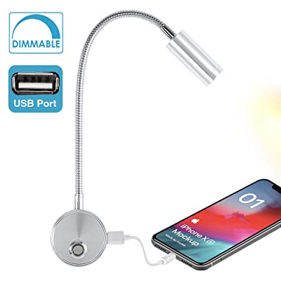 WisHomee Dimmable RV Reading Light with USB Charging Port, DC 12V RV Interior Lights, Flexible LED Light Fixtures, Designed for Car, Van, Boat and Motorhome (Silver): Automotive
