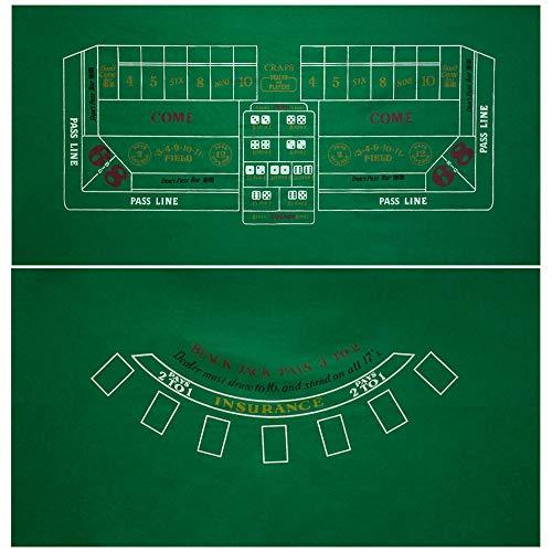 GSE Games & Sports Expert 36x72-Inch Blackjack/Craps/Roulette/Texas Holdem/Baccarat Casino Table Top Felt Layout Mat (Craps & Blackjack)
