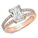 Clara Pucci 4.35 CT Cushion brilliant Cut CZ Solitaire Engagement ring 14K Rose Gold Bridal Jewelry, Size 10