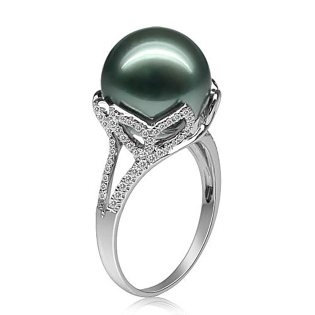 AmDxD Jewelry Silver Plated Women Promise Customizable Rings Tahiti Flower Pearl Size 10.5