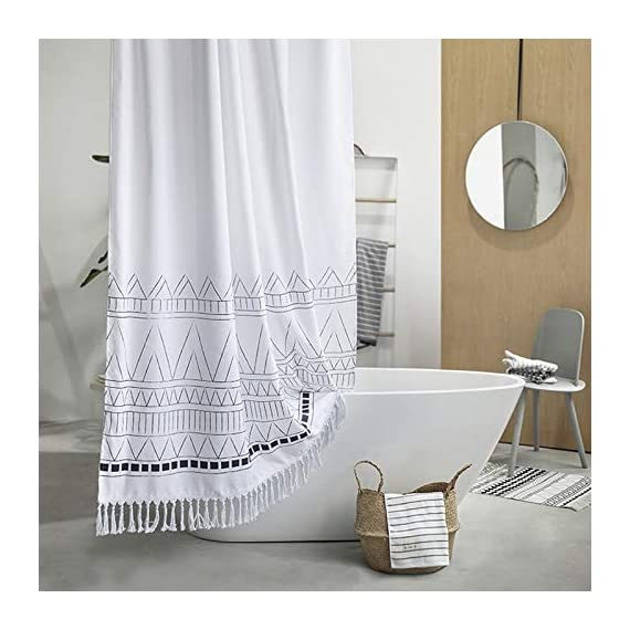 YoKii Tassel Fabric Shower Curtain, Black Grey White Boho Striped Chevron Polyester Bath Curtain Set with Hooks, Decorative Spa Hotel Heavy Weighted 72-Inch Bathroom Curtains, (72 x 72, Nordic Chic) - KEEPS WATER INSIDE -- NEW resin coating technology keeps water slide off the fabric shower curtain. No liner required. YOUR STYLE OUTSIDE -- This boho shower curtain with adorable white pom pom trim on the bottom. Pure white base color means that it will work with most color schemes. 180 GSM FABRIC -- Durable but soft feeling fabric with 180 GSM means very heavy duty, which ensures a bathroom shower curtain last longer and will be more pricey. - shower-curtains, bathroom-linens, bathroom - 513 wMX%2BbVL. SS570  -