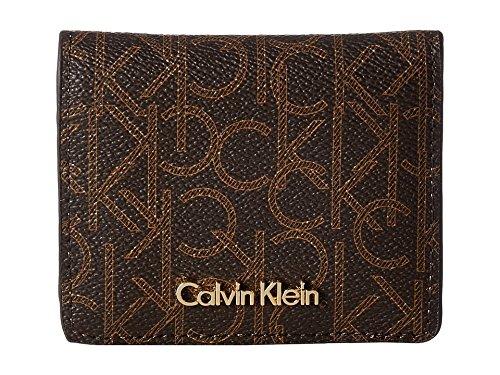 Half Flap Handbag - Calvin Klein Women's Small Half Flap Monogram Wallet Brown/Khaki/Camel Wallets