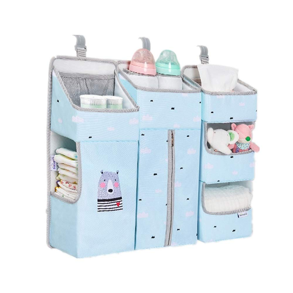 Gralet-home Bed Hanging Organizer Nursery and Diaper Organizer for Hanging Crib Changing Table Wall and Closet for Baby Cot Bunk Bed (Color : Blue, Size : 66X13X50CM) by Gralet-home