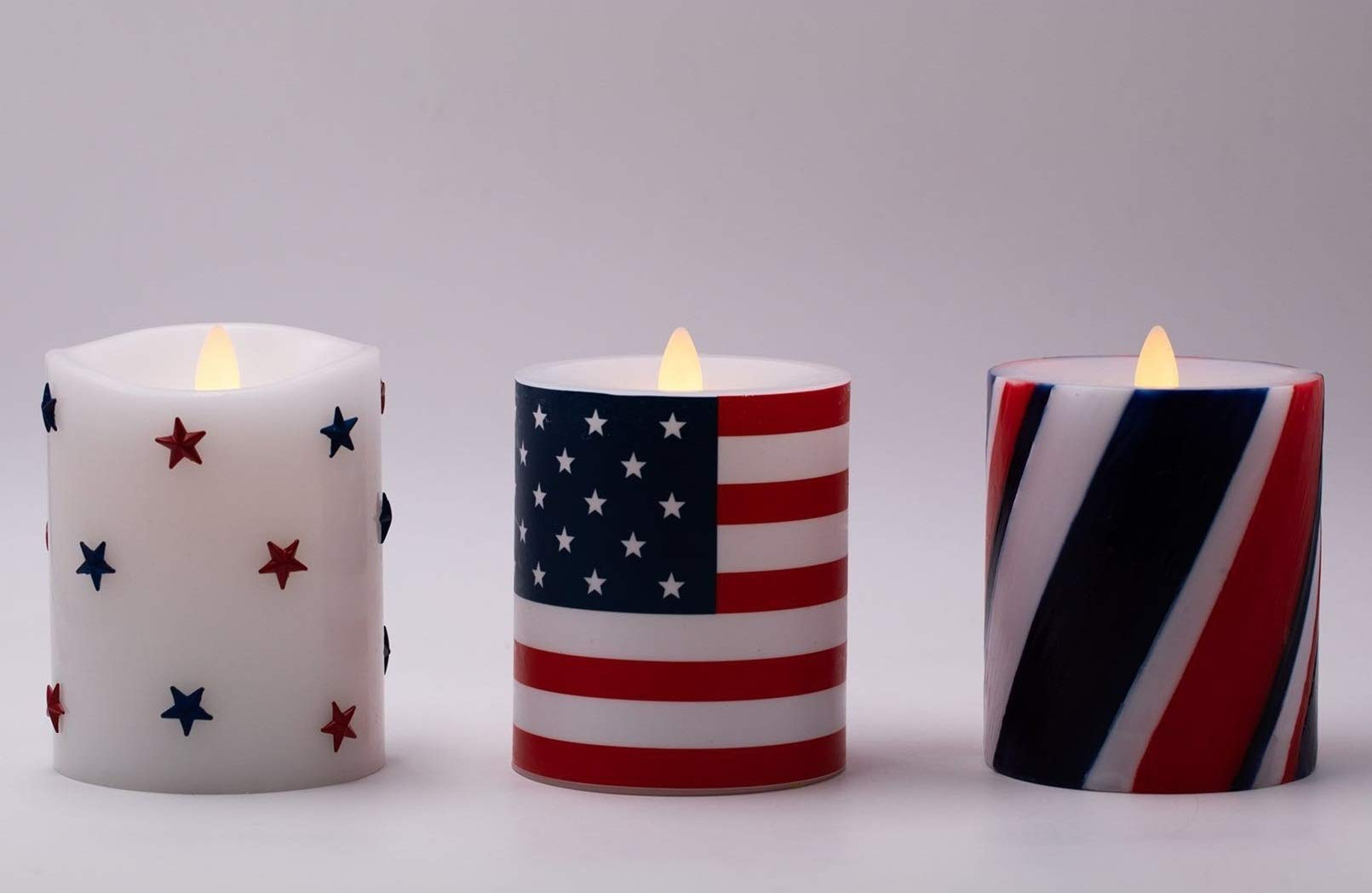 Flameless Candles Set of 3(D 3.5'' x H 5'') Battery Operated American Flag Pillar Candles with Timer and Remote to Buy Separately