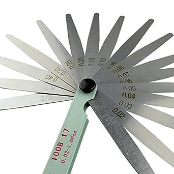 AHL 17 Blade 0.02-1mm Metal Feeler Gauge Measuring Tool 100mm
