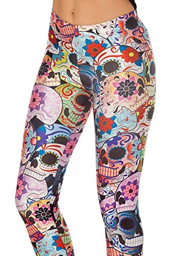 Sister Amy Women's High Waist Colorful Skull Printted Ankle Elastic Tights Legging (Colorful Running Tights compare prices)