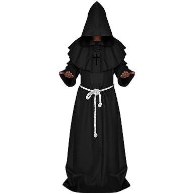 6dc2e033d8 Medieval Friar Hooded Monk Renaissance Priest Robe Cape Cloak Halloween  Costume  Amazon.co.uk  Clothing
