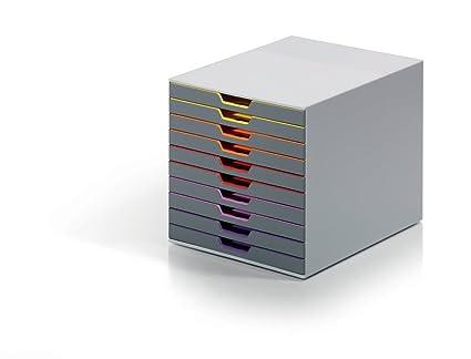DURABLE - 761027 - VARICOLOR 10. Cajonera con 10 cajones de plástico. Medidas: 292 x 280 x 356 mm (An x Al x P).