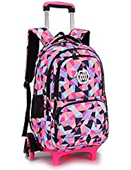 YUB New School Bag Girls' Backpack Wheeled Schoolbag Rolling Backpacks Waterproof Black with Six Wheels