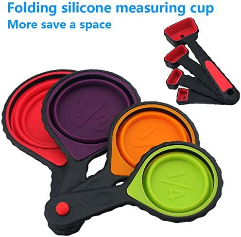 FATCHOI Portable Silicone Measuring Cups & Red Measuring Spoons Set, Collapsible 8-Piece Set, 8 Sizes