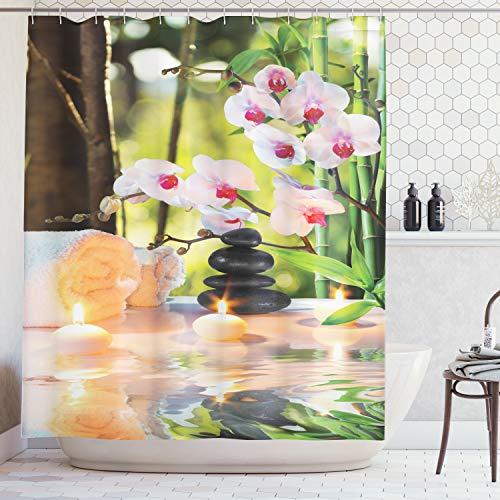 Ambesonne Spa Shower Curtain, Massage Spa Theme with Candles Orchids and Stones in Garden Japanese Oriental, Cloth Fabric Bathroom Decor Set with Hooks, 84 Inches Extra Long, Green ()