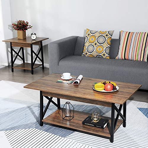 GreenForest Coffee Table Large Rectangular Top Metal Legs with Storage Shelf for Living Room, Easy Assembly, Walnut