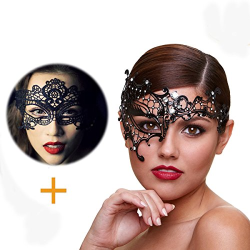 Masquerade Mask for Women Ultra Light Shiny Metal Rhinestone Venetian Pretty Party Evening Prom Ball Mask Luxury Metal Mask Come with Free Lace Mask (Half Face)