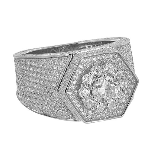 Sterling Silver Mens Ring Hexagon Face Simulated Diamonds Iced Out Custom (10)