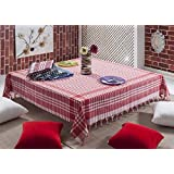 Tablecloth Linen Plaid Table Cloth Dinner Summer Dining Table cloth Picnic Throw Blanket Table Cover Gingham Check Buffalo Bohemian Retro Vintage Sofra (64x64'', red)