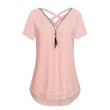 85933d2d3ac030 Kobay Women V-Neck Zipper Hem Scoop Tanks Tops, Ladies Chiffon Short Sleeve  T