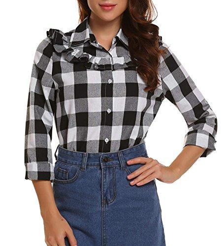 Plaid Ruffled Blouse (Zeagoo Long Sleeve Plaid Shirt Ladies Black Cotton Blouse Ruffled Cute Tops Medium)