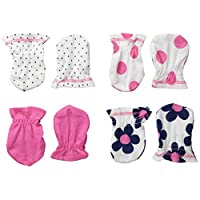 Gerber Baby-Girls Mittens, Flowers, 0-3 Months (Pack of 4)