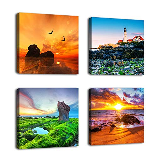 Canvas Wall Art Beach Sunset Ocean Themes Wall Decor 12 x 12 x 4 Pieces Canvas Pictures Sea Artwork Contemporary Nature Pictures Giclee Prints for Home Decoration