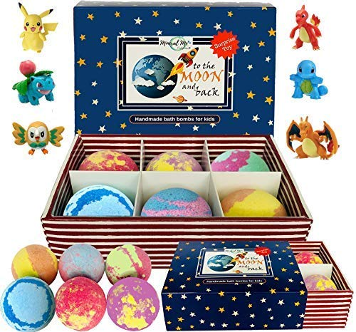 Kids Bath Bombs with Toys Inside - All Natural w/Shea Butter and Essential Oils. Gentle and Kid Safe, Gender Neutral, Bubble Bath Fizzies with Surprise Inside. Easter Gift Set for Girls and Boys