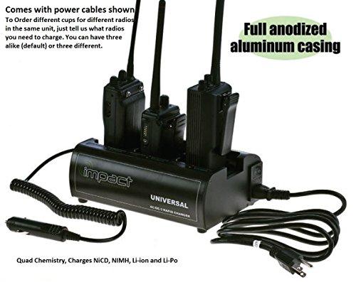 Impact Quad Chemistry Three Bay 120 Volt AC & 12 Volt DC Mobile Portable Radio Battery Charger fits: EF Johnson 8500 Series Portable Radio