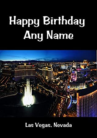 Las Vegas Nevada Personalised Birthday Card Amazoncouk Office Products