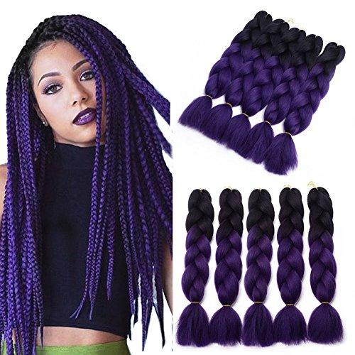 - Two Tone Ombre Jumbo Braid Hair Extension 5Pcs/Lot 100g/pc Kanekalon Fiber for Twist Braiding Hair (1B-purple)
