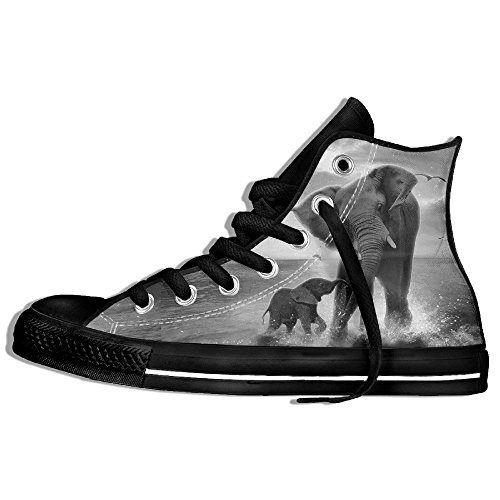 Classic High Top Sneakers Canvas Zapatos Anti-skid Elephant Famlie Casual Caminar Para Hombres Mujeres Negro