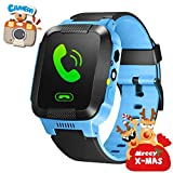 GPS Tracker Kids Smart Watch for Children Girls Boys Christmas Gifts with Camera SIM Calls Anti-lost SOS Smartwatch Bracelet for iPhone Android Smartphone (Blue)