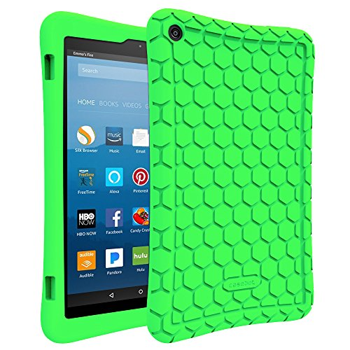 Fintie Silicone Case for All-New Amazon Fire HD 8 Tablet (7th Generation, 2017 Release) - [Honey Comb Upgraded Version] [Kid Friendly] Light Weight [Anti Slip] Shock Proof Protective Cover, Green