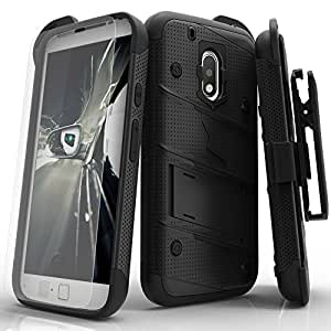 Motorola G4 Plus Case, Zizo [Bolt Series] w/ [Motorola G4 Plus Screen Protector] Kickstand [12 ft. Military Grade Drop Tested] Holster Clip - Moto G4
