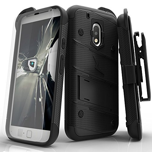 Motorola G4 Plus Case, Zizo [Bolt Series] w/ [Motorola G4 Plus Screen Protector] Kickstand [12 ft. Military Grade Drop Tested] Holster Clip - Moto G4
